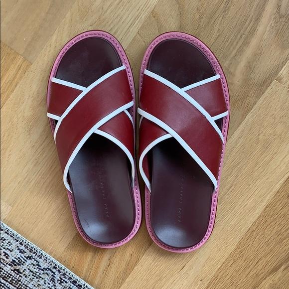 Zara Shoes - Zara Red Slides